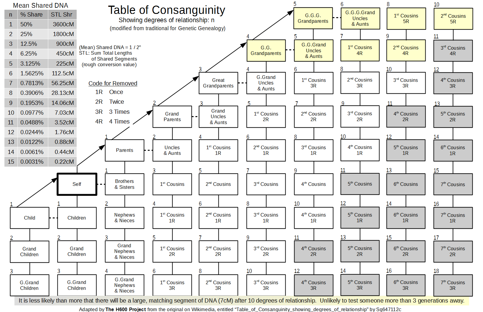 The h600 project consanguinity the traditional table of consanguinity with the degree of relationship modified to for genetic genealogy illustration ccuart